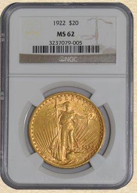 4C: 1922 $20 St. Gaudens MS62 NGC