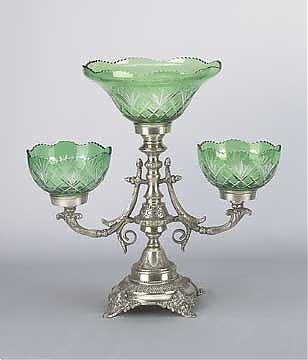 4A: Emerald Green Bohemian Style Cut Glass Serving Piec