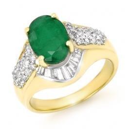 6W: 2.57 ctw Emerald & Diamond Ring 14K Yellow Gold