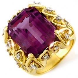 8W:  14.4ctw Amethyst & Diamond Ring