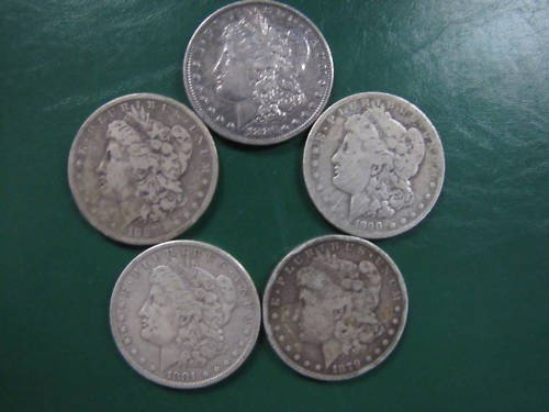 17: 5 19th Century Morgn Silver Dollars