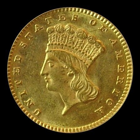 5D: 1850's-70's $ 1 Gold Coin