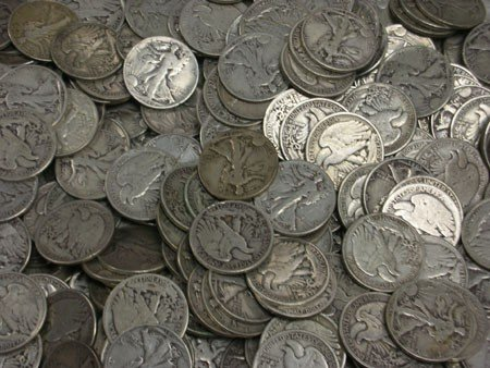 1: Lot of 100 Walking Liberty Halves-