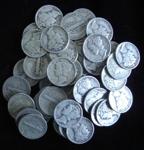 5: Roll of Mercury Dimes g-xf grades- 50 Coins