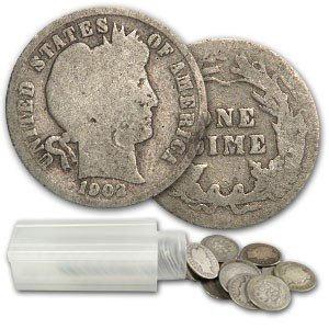 8: Roll of Circulated Barber Dimes- 1892-1916