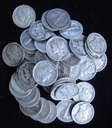 14: Roll of Mercury Dimes g-xf grades- 50 Coins