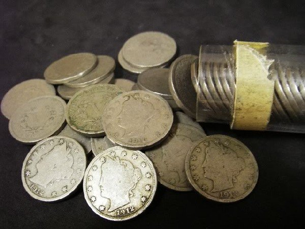 5: 50 V Nickels- Circulated- ag to good