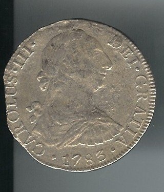 19: 1783 Early US Colonial Silver Dollar- 8 Reales