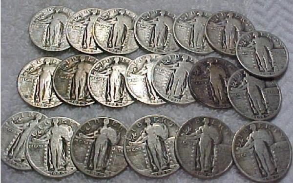 581K: Silver Standing Liberty Quarters - 40 Coins