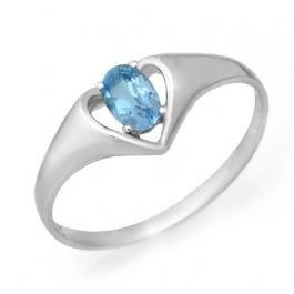 9W: Genuine 0.25 ctw Blue Topaz Ring 10K White Gold