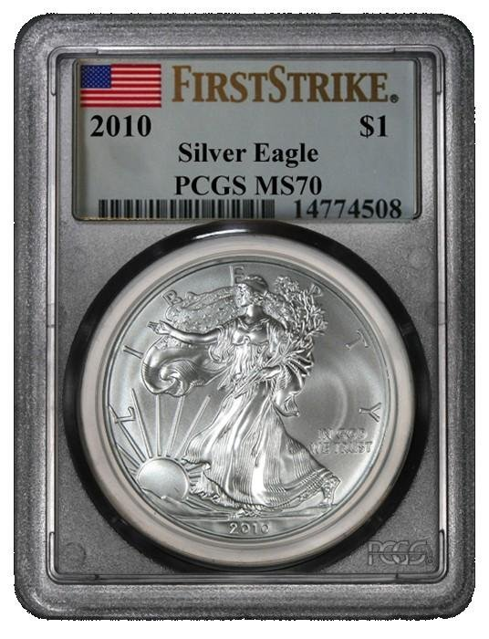 1R: (10) 2010 Silver Eagle S$1 MS70 PCGS 1st Strike