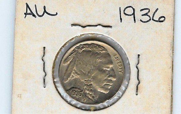 2: 1936 Buffalo Nickel- AU