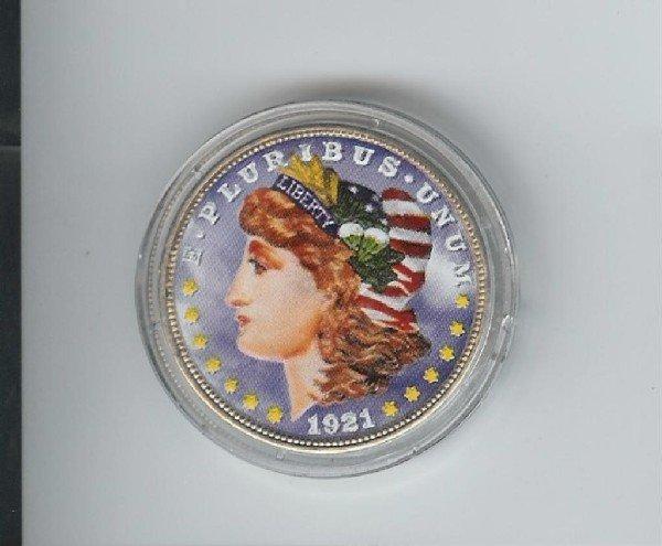 4: Colorized 1921 Morgan Silver Dollar