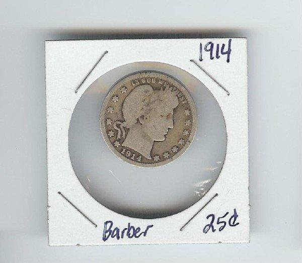 5: 1914 Barber Quarter Dollar- Good to VG