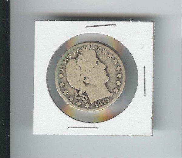 7: 1913 Barber Quarter Dollar