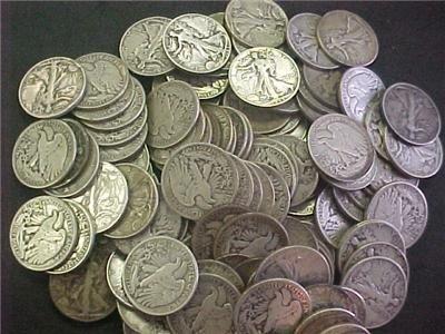 637: Lot of (100) Walking Liberty Half Dollars