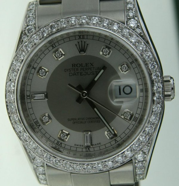 3E: ROLEX DATEJUST MENS STEEL WATCH DIAMOND BEZEL LUGS
