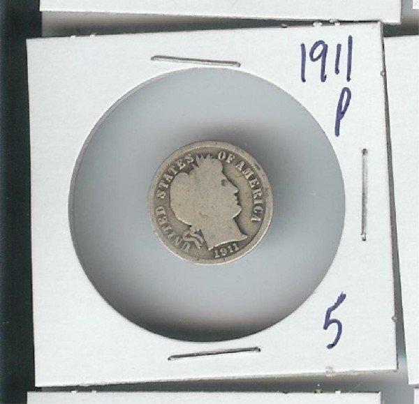 5A: 1911 P Barber Dime