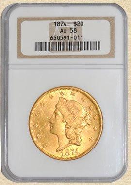2Z: 1874 $20 Liberty AU58 NGC