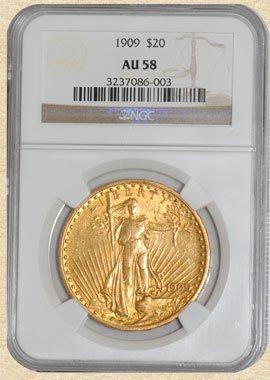 1: 1909 $20 St. Gaudens AU58 NGC