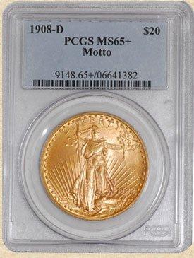 2: RARE 1908-D $20 Gaudens MS65+ PCGS w/Motto POP. 1