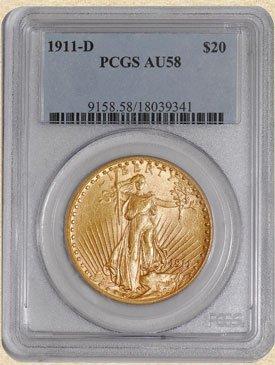 3: 1911-D $20 St. Gaudens AU58 PCGS