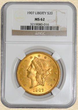 4: 1907 $20 Liberty MS62 NGC