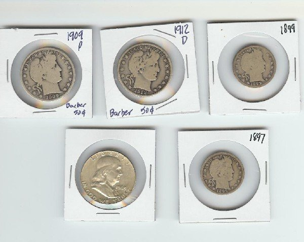 1: Lot of 5 US Type Coins- Barbers & More...