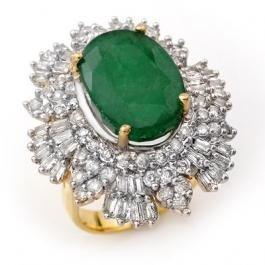 2W: 11.65ctw Emerald & Diamond Ring 14K