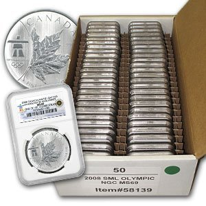 1X: 08 1 oz. Vancouver Silver Maple Leafs NGC MS69 (50)