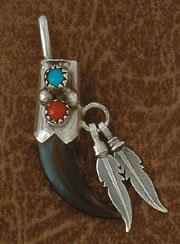 2V: Navajo Coyote Claw Feather Pendant