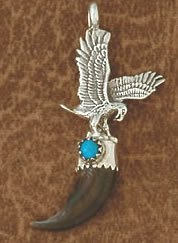 3V: Coyote Claw w/ Turquoise Eagle Figural Pendant