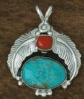 4V: Navajo Coral and Turquoise Pendant