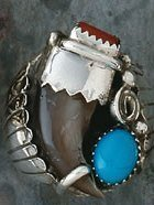 5V: Navajo Bear Claw Turquoise and Coral Man's Ring