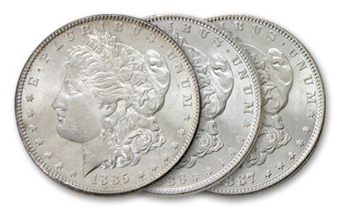 4: 1885,6,7 Comstock Lode Silver Dollars