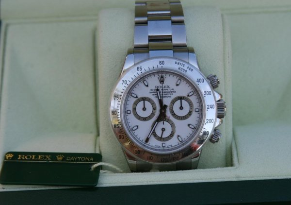 2A: ROLEX DAYTONA MENS WHITE DIAL YEAR 2009 BOX AND PAP