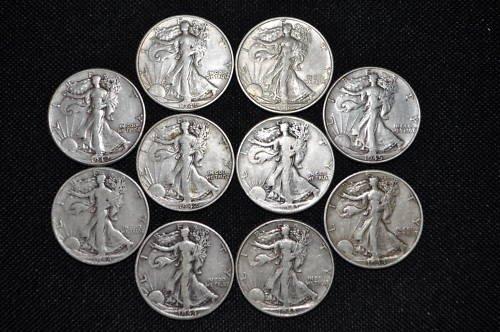 5: Lot of 10 Walking Liberty Halves- Mixed Dates-
