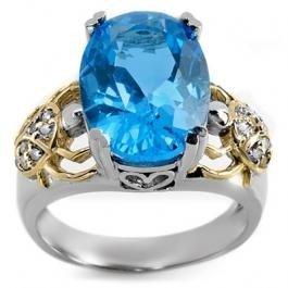 7D: 8.20 ctw Blue Topaz & Diamond Ring