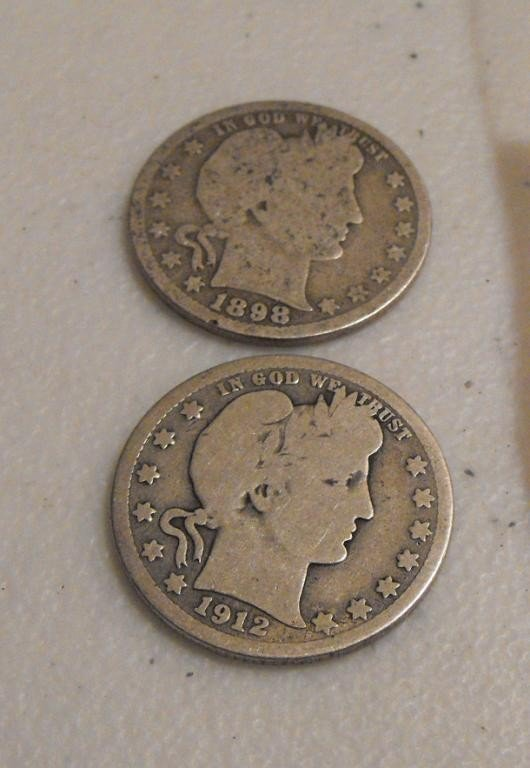 1: 1898 O - 1912 2 Barber Full Rim Half Dollars