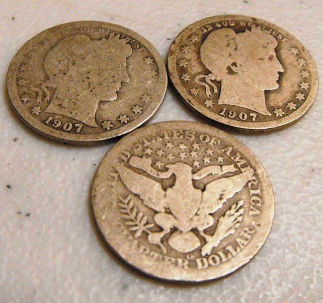 3: (3) 1907 O Barber Quarters