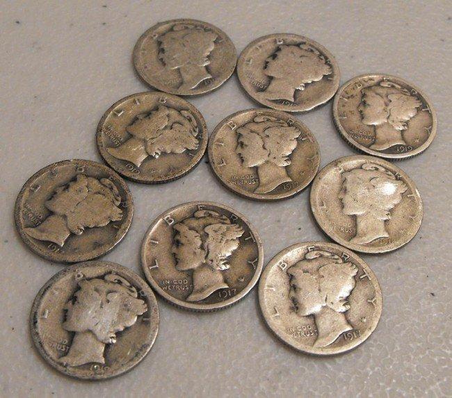 10: (10) 1900's - TEEN's Mercury Dimes