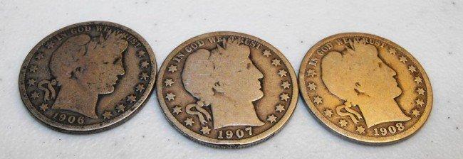 11: Lot of (3) Barber Halves - 1906-7-8