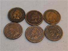 51: (6) Copper / Nickel Indian Head Cents