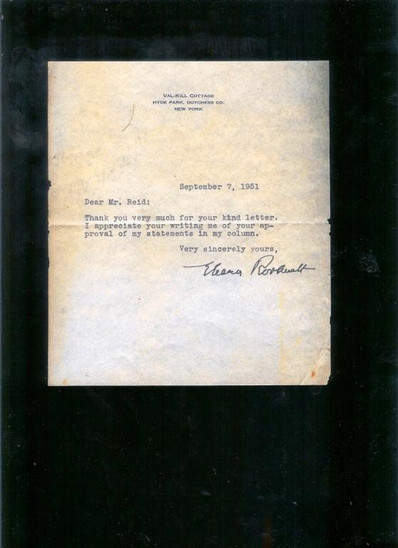 186: Eleanor Roosevelt Hand Signed Letter
