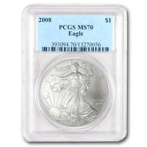 1: PERFECT MS 70 PCGS SILVER EAGLE 08