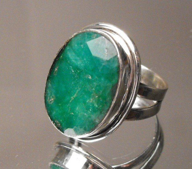 3: 16.25 ct Emerald Ring Sterling $ 3215 GG GIA