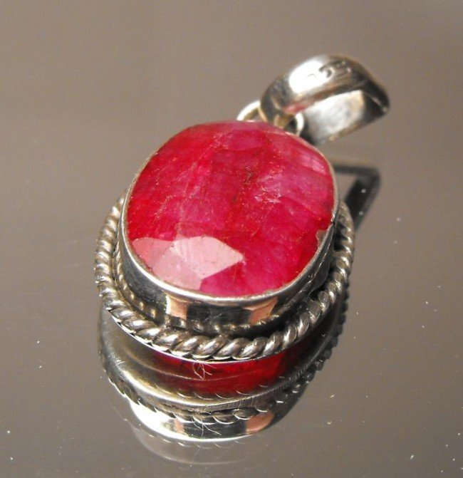 6: 8.63 ct. Ruby Pendant Sterling $ 2300 GG GIA