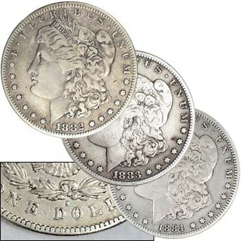1: 1882,3,4 S Mint Morgan Silver Dollars - VG Plus