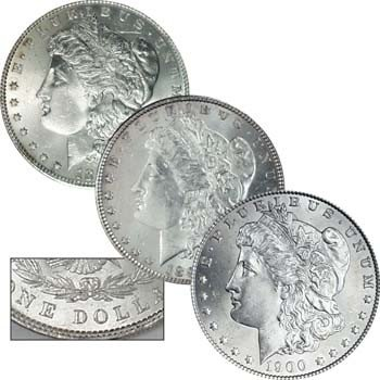 2: 1880-89-1900 P Morgans UNC