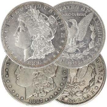 3: 1 ea. 1886-87 S Mint Morgans VG- Plus